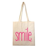 WOW - organic cotton screenprinted tote SMILE - Raspberry