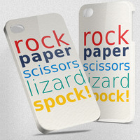 Rock Paper Scissors Lizard Spock - Hard Cover Case iPhone 5 4 4S 3 3GS HTC Samsung Galaxy Motorola Droid Blackberry LG Sony Xperia &amp; more