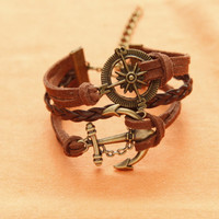 Compass Bracelet, Anchor Bracelet, Charm Bracelet, Brown Bracelet, Brown Braided leather Bracelet, Best gift