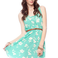 Fall Flowers Tank Dress in Seafoam :: tobi