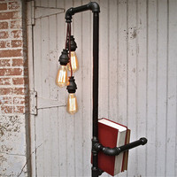 Industrial Floor Lamp Bookshelf by stellableudesigns on Etsy