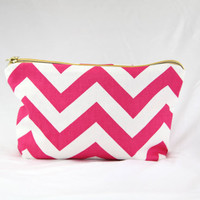 PINK chevron makeup bag, MORE COLORS, pink chevron case, pink and white chevron clutch, chevron travel case, chevron pack