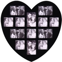 ADECO PF0304 13-Opening Black Wooden Wall Hanging Collage Photo Picture Frames - Holds 4x5 4x6 Inch Photos, Wall Art,Wall Hanging Collage,Heart Shape / Love Design,Best Wedding Gift: Home & Kitchen
