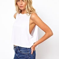 ASOS Cropped Tank Top with High Neck at asos.com