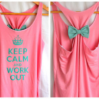 Keep Calm and Work Out Tank with Bow  LARGE by personTen on Etsy