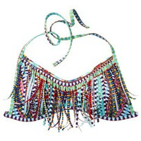 Xhilaration® Junior's Bandeau Swim Top w/ Fringe -Multicolor