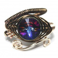 Egyptian Wire Ring - Eye of Horus - Merdean Blue Swarovski Crystal | PrimevalSands - Jewelry on ArtFire