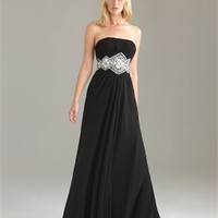 Strapless Empire Chiffon Drape Black Floor-length with Embellished Trim Prom Dress PD0893