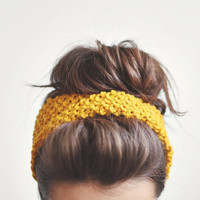 Yellow headband, ear warmer / Hand knitted