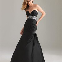 Strapless Mermaid Sweetheart Drape Beaded Black Floor-length with Embellished Trim Prom Dress PD0873