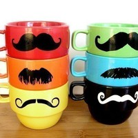 Mustache Mug Stacking Rainbow Mustache Mugs With Holder by Uptown Avenue
