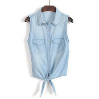 Sweet detachable lace collar shirt-sleeveless denim shirt  [111]