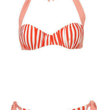 Red Stripe Gathered Bikini