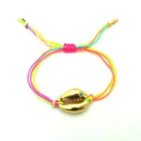 Neon Gold Shell Friendship Bacelet