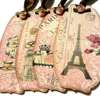 Shabby Chick Tags Paris Gift Tags Pink Roses Tags by Istriadesign