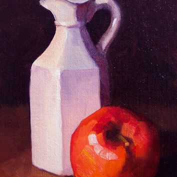 Daily Oil Painting Apple and Jar 5 x 7 by LittletonStudio on Etsy