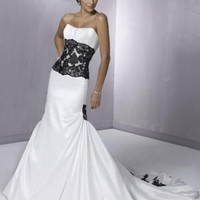 A-Line Princess Strapless Chapel train Satin wedding dress for brides 2012 Style(WDL0009) [WDL0009] - $176.26 :