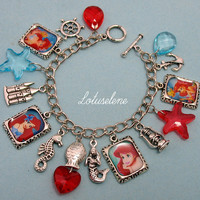 ♥Disney The Little Mermaid♥Ariel♥Belle Picture Photo Charm Bracelet Gfit Unique