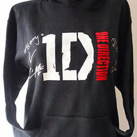 1D One Direction Boys &amp; Girls HOODIE with 5 Bracelets Boys Names XLARGE BLACK 