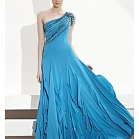 [413.99] In Stock Charming Chiffon A-line  Blue One Shoulder Sexy Floral Pary Dress - Dressilyme.com