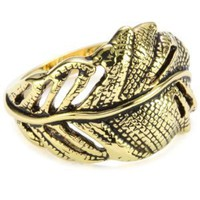 "Beyond Rings ""Enchanted Collection"" Gold Feather Ring, Size 6"