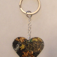Mossy Oak Camo Camouflage Heart shaped KEYCHAIN country girl love jewelry