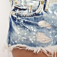 River Island Denim Hotpant With Paint Splat at asos.com