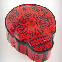 Red Sugar Skull Trinket Box | PLASTICLAND