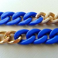Gold Chunky Chain with Royal Blue Plastic by CandyCoutureShop