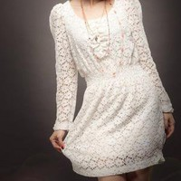 Round Neck Long Sleeve Lace Dress by ayumila on Etsy