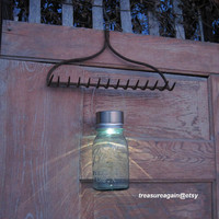 Garden Rake Solar Light Set Garden Decor Ball Mason Jar Solar Hanging Light Recycled Salvaged Garden Rake Hook, Gift for Gardeners