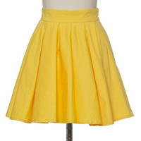Yellow Pleats Mini Skirt