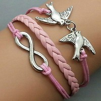 Silver double birdie Pink braided rope bracelet