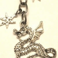 Dragon Charm and Stars Key Chain or Charm Dangle with Winged Dragon