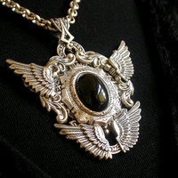 Gothic Silver Double Wings Pendant  - Black Onyx Gemstone - Fantasy Gothic Jewelry - Wings Necklace