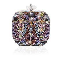 Crystal Embroidered Sophia Box Clutch | AHAlife