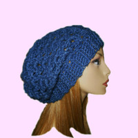 Slouchy Beanie Hat Denim Blue Slouch Women Teen Summer Spring Crochet Hat