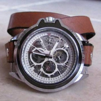Automatic Mechanical Skeleton Wrist Watch  Free shipping