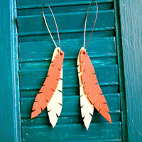 Leather Feather Earrings by RobbieMoto on Etsy