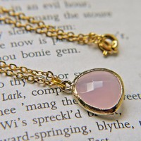 Sale. Pink Opal Glass Pendant Necklace In Matte Gold.