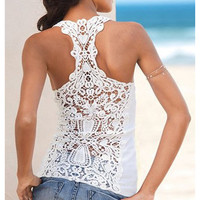 White or Black Crochet Race Back Tank