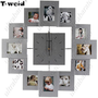 (T-WEID) Modern European Style Wooden Photo Frame Mute Art Wall Clock for Living Room Bedroom (1 x AA) from UltraBarato Gadgets