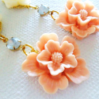 Light Coral Flower Earrings, pink spring blossom earrings, spring fashion vintage style posies, bridesmaids earrings, pale cloud rhinestones