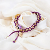 Winding type person cranial head leather fashion hand-woven rope alloy bracelet Girl&#x27;s favorite gift adjustable -N1130
