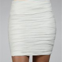 Ivory Body Con Wavy Mini Skirt