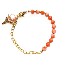 Angelskin Coral Charm Bracelet Gold Chain Whale Tail FizzCandy Gemstone Jewelry