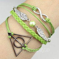 Infinity Bracelet, Harry Potter Snitch &amp; Deathly Hallows Charm Bracelet Friendship Gift Personalized Bracelet-N1126