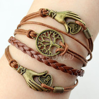 bronze wishing tree bracelet hand bracelet giving the lover best gift charm bracelet friendship bracelet personalized-N1122