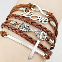 Silvery infinity karma bracelet cute owl bracelet love bracelet cross bracelet charm bracelet jewelry bracelet personalized gift-N1119