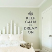 "Keep Calm and Dream On Wall Quote Decal Black 28"" wide x 48"" high: Home & Kitchen"